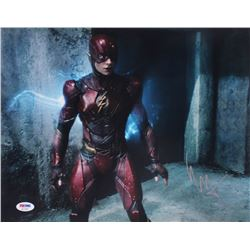 "Ezra Miller Signed ""Justice League"" 11x14 Photo (PSA COA)"