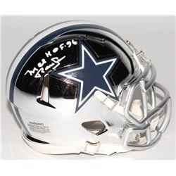 "Mel Renfro Signed Dallas Cowboys Mini Chrome Speed Helmet Inscribed ""HOF 96"" (Schwartz COA)"
