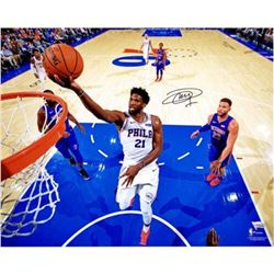 "Joel Embiid Signed Philadelphia 76ers ""Lay Up Vs. Detroit"" 16x20 Photo (Fanatics Hologram)"