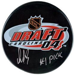 "Alexander Ovechkin Signed 2004 Draft Day Logo Hockey Puck Inscribed ""#1 Pick"" (Fanatics Hologram)"