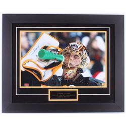 Tuukka Rask Signed Bruins 20x25 Custom Framed Photo Display (Rask Hologram)