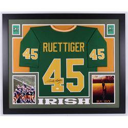 Rudy Ruettiger Signed Notre Dame Fighting Irish 35x43 Custom Framed Jersey (JSA COA)