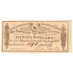 1864 $15 Fifteen-Dollar Confederate States of America Richmond CSA Bank Note Bond