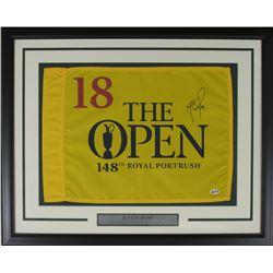 Justin Rose Signed 2018 The Open Championship 21x27 Custom Framed Pin Flag Display (Beckett COA)