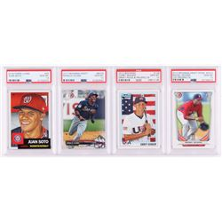 Lot of (4) PSA Graded 10 Baseball Cards with 2018 Topps Living #43 Juan Soto, 2017 Bowman Draft #BD3