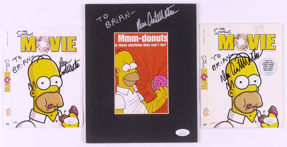 Lot Of 3 Dan Castellaneta Signed The Simpsons Movie Items With Custom Matted Postcard 2 Dvd C