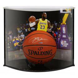 LeBron James Signed Spalding Basketball with Curve Display Case (UDA COA)