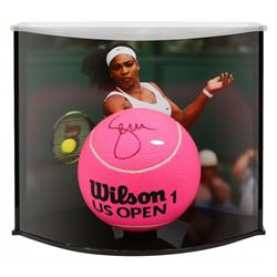 """Serena Williams Signed Oversized 9"""" US Open Tennis Ball with Curve Display Case (UDA COA)"""