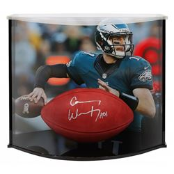 """Carson Wentz Signed """"The Duke"""" Official NFL Game Ball Inscribed """"AO1"""" with Curve Display Case (Fanat"""