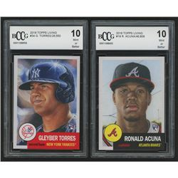 Lot of (2) BCCG Graded 10 2018 Topps Living Baseball Cards with #19 Ronald Acuna / 46,809  #34 Gleyb