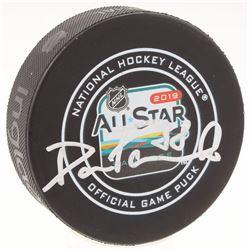 David Pastrnak Signed 2019 All-Star Logo Hockey Puck (Pastrnak COA)