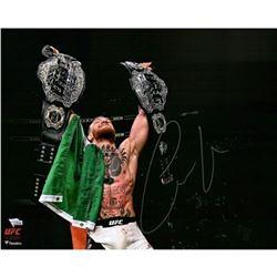 "Conor McGregor Signed UFC ""Raising Two Belts"" 16x20 Photo (Fanatics Hologram)"
