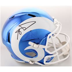 Aaron Donald Signed Los Angeles Rams Full-Size Blue Chrome Speed Helmet (JSA COA)