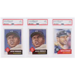 Lot of (3) PSA Graded 9 2018 Topps Living Baseball Cards with (2) #42 Jackie Robinson, (1) #54 Mitch