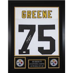 "Joe Greene Signed Pittsburgh Steelers 24x30 Custom Framed Jersey Inscribed ""HOF 87"" (JSA COA)"