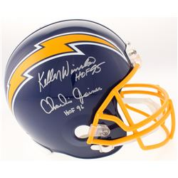 "Kellen Winslow  Charlie Joiner Signed San Diego Chargers Full-Size Throwback Helmet Inscribed ""HOF 9"