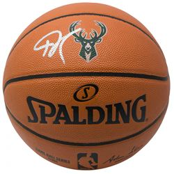 Giannis Antetokounmpo Signed Milwaukee Bucks Logo NBA Game Ball Series Basketball (JSA COA)