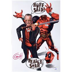 "Greg Horn Signed Marvel ""Deadpool and Smilin' Stan"" 13x19 Lithograph (JSA COA)"