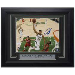 Giannis Antetokounmpo Signed 11x14 Custom Framed Photo Display (JSA COA)