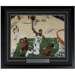 Giannis Antetokounmpo Signed Milwaukee Bucks 22x27 Custom Framed Photo Display (JSA COA)