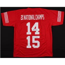 "Tommie Frazier  Jerry Tagge Signed Nebraska Cornhuskers ""2x National Champs"" Jersey (JSA COA)"