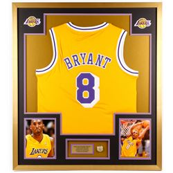 Kobe Bryant Los Angeles Lakers 34x38 Custom Framed Jersey with Championship Ring