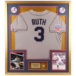 Babe Ruth New York Yankees 34x38 Custom Framed Jersey with Championship Ring