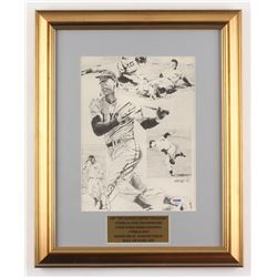 Joe DiMaggio Signed New York Yankees 15x18.5 Custom Framed Print (PSA LOA)