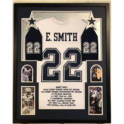 Emmitt Smith Signed Dallas Cowboys 34x42 Custom Framed Career Highligh Stat Jersey (Beckett COA  Pro