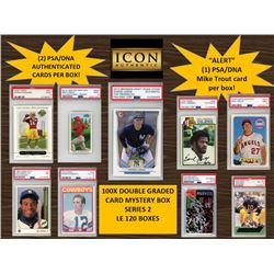 ICON AUTHENTIC  100X DOUBLE GRADED CARD  MYSTERY BOX SERIES 2 Guaranteed Mike Trout PSA/DNA Card 100