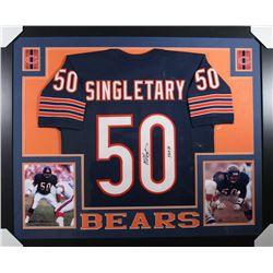 "Mike Singletary Signed Chicago Bears 35x43 Custom Framed Jersey Inscribed ""HOF 98"" (JSA COA)"