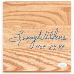 "Lenny Wilkens Signed 7.5x7.75 Wood Floorboard Piece Inscribed ""HOF '89, '98"" (JSA COA)"