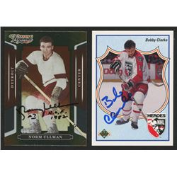 Lot of (2) Signed Hockey Cards with 1990-91 Upper Deck #509 Bobby Clarke HERO  2008 Donruss Sports L