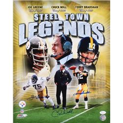 Chuck Noll, Joe Greene  Terry Bradshaw Signed Pittsburgh Steelers 16x20 Photo (JSA COA)