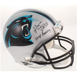 "Thomas Davis Signed Carolina Panthers Full-Size Authentic On-Field Helmet Inscribed ""Keep Pounding"""