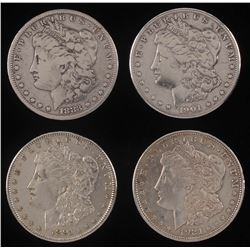 Lot of (4) Morgan Silver Dollars with 1883, 1891, 1901-O,  1921