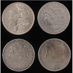 Lot of (4) Morgan Silver Dollars with 1880, 1892, 1900-O,  1921