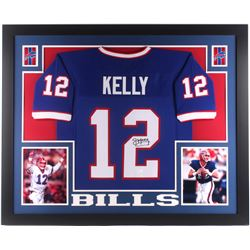 Jim Kelly Signed Buffalo Bills 35x43 Custom Framed Jersey (JSA COA)