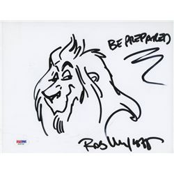 "Rob Minkoff Signed 8.5x11 Cut with Original Sketch Inscribed ""Be Prepared"" (PSA COA)"