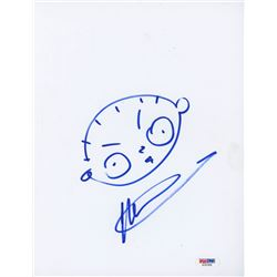 Seth MacFarlane Signed 8.5x11 Cut with Original Sketch (PSA COA)