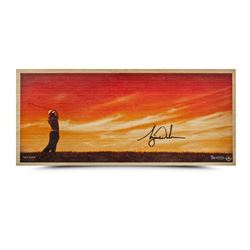 "Tiger Woods Signed ""Perfecting The Craft"" LE 11x26 Bamboo Print (UDA COA)"