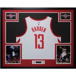 James Harden Signed Rockets 35x43 Custom Framed Jersey Display (Fanatics)