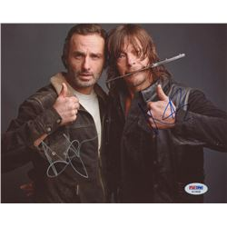 "Andrew Lincoln  Norman Reedus Signed ""The Walking Dead"" 8x10 Photo (PSA COA)"