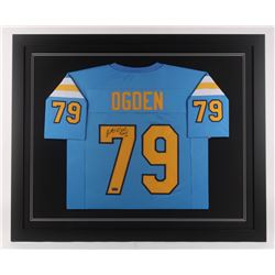 Jonathan Ogden Signed UCLA Bruins 35.5x43.5 Custom Framed Jersey Inscribed  CHOF 12  (Radtke COA)