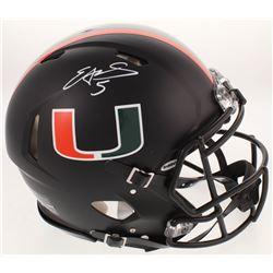 Edgerrin James Signed Miami Hurricanes Matte Black Authentic On-Field Full-Size Speed Helmet (Radtke