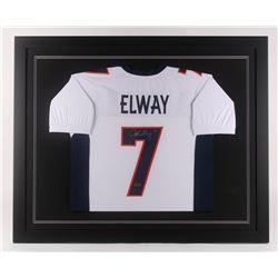 John Elway Signed Denver Broncos 35.5x43.5 Custom Framed Jersey (Radtke COA  Elway Hologram)