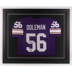 "Chris Doleman Signed Minnesota Vikings 35.5x43.5 Custom Framed Jersey Inscribed ""HOF 12"" (Radtke COA"