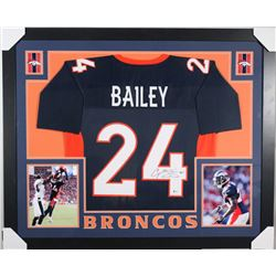 Champ Bailey Signed Denver Broncos 35x43 Custom Framed Jersey (Beckett COA)