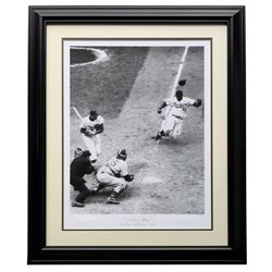 "Jackie Robinson LE ""Stealing Home"" 24x29 Custom Framed Hulton Archive Giclee Display"