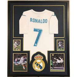 Cristiano Ronaldo Signed Real Madrid 35x43 Custom Framed Jersey (Beckett COA)